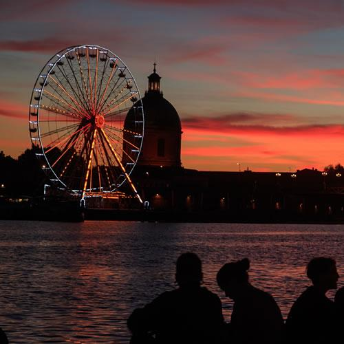 Coucher de soleil sur la Garonne à Toulouse