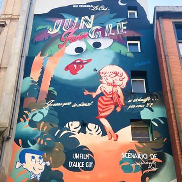 Street art - fresque de mademoiselle Kat